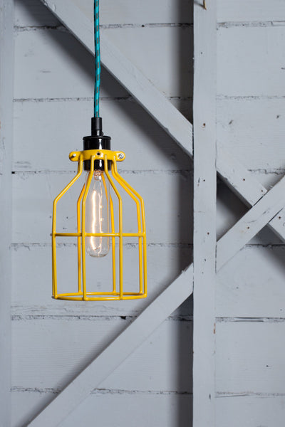 Industrial Pendant Lighting - Yellow Wire Cage Light - Industrial Light Electric - 1