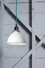 White Metal Shade Industrial Pendant
