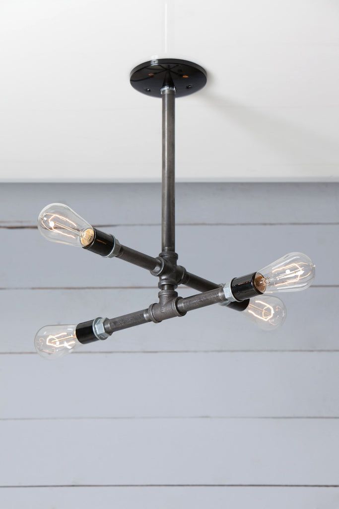 Industrial Black Pipe Chandelier - 4 Bare Bulbs - Black Iron