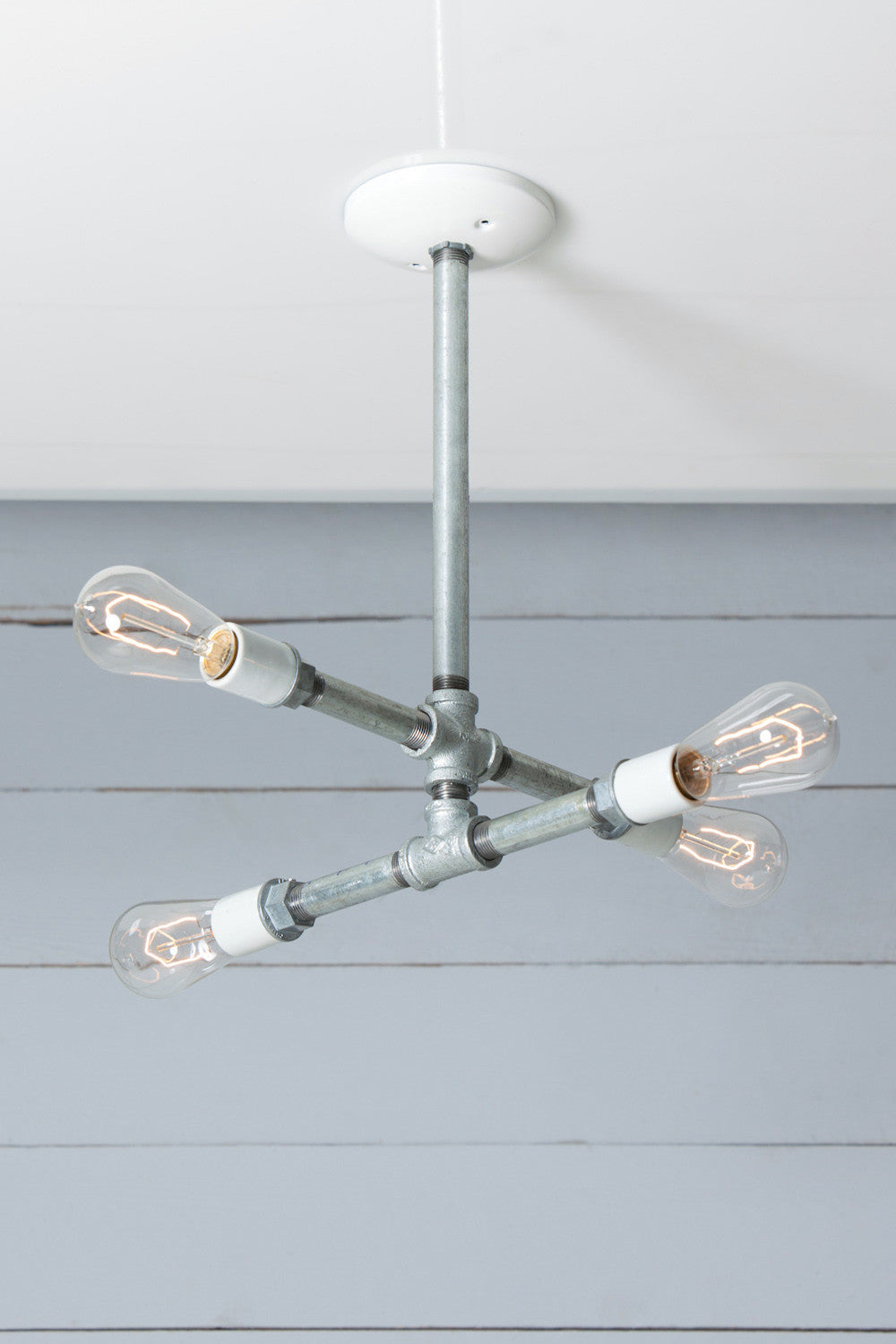 Industrial Pipe Chandelier 4 Bare Bulbs Galvanized Industrial Light Electric