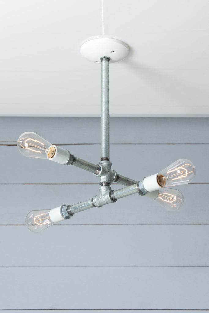 Industrial Pipe Chandelier - 4 Bare Bulbs - Galvanized