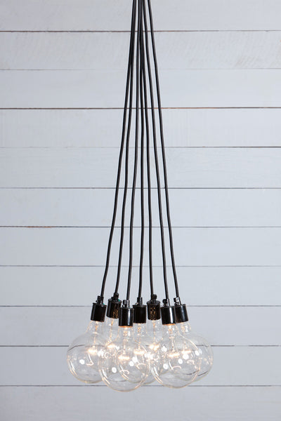 Color Cord Chandelier - 7 Bare Bulb Fixture