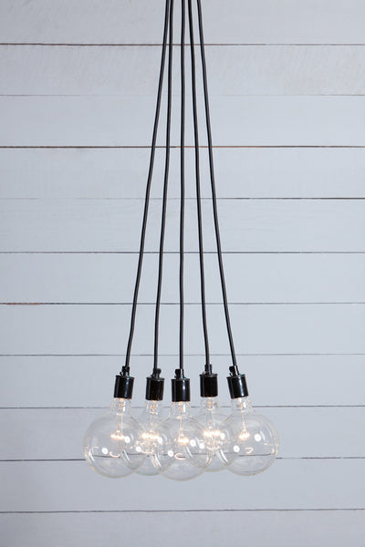 Bare Bulb Chandelier - 5 Light Cluster