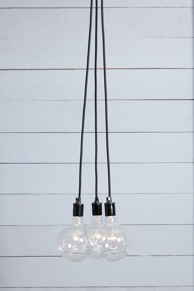 Bare Bulb Chandelier - 3 Light Cluster
