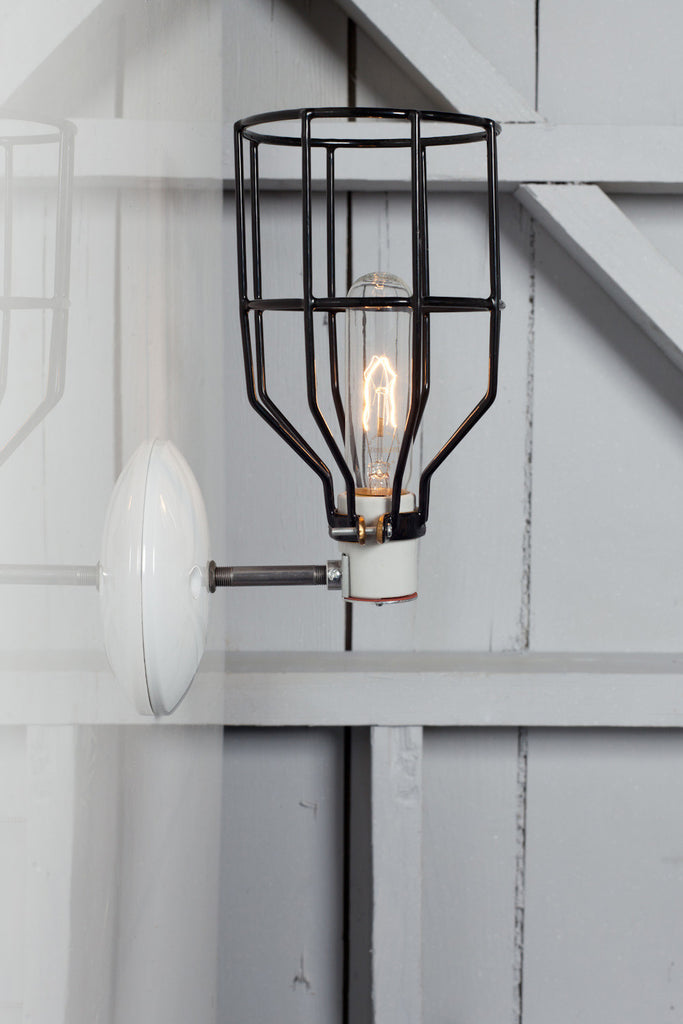 Industrial Wall Light - Black Wire Cage Wall Sconce L& & Industrial Wall Light - Black Wire Cage Wall Sconce Lamp ...