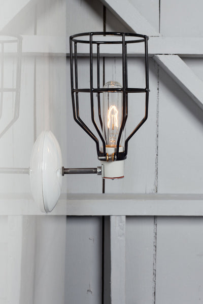 Industrial Wall Light - Black Wire Cage Wall Sconce Lamp - Industrial Light Electric - 1
