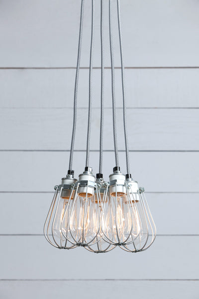 Wire Cage Chandelier 5 Light Cluster Industrial Light