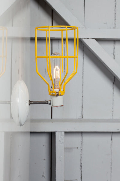 Industrial Wall Sconce - Yellow Wire Cage Wall Light - Industrial Light Electric - 1