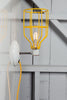 Industrial Wall Light - Yellow Wire Cage Lamp - Plug In - Industrial Light Electric - 1