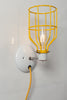 Industrial Wall Light - Yellow Wire Cage Lamp - Plug In - Industrial Light Electric - 2