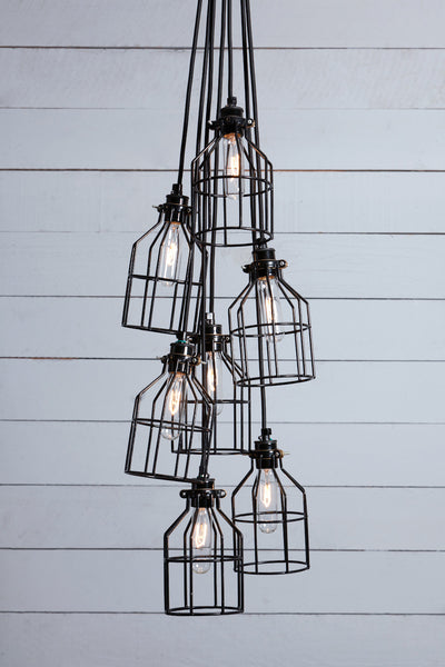 Industrial Chandelier Black Wire Cage 7 Light Cluster
