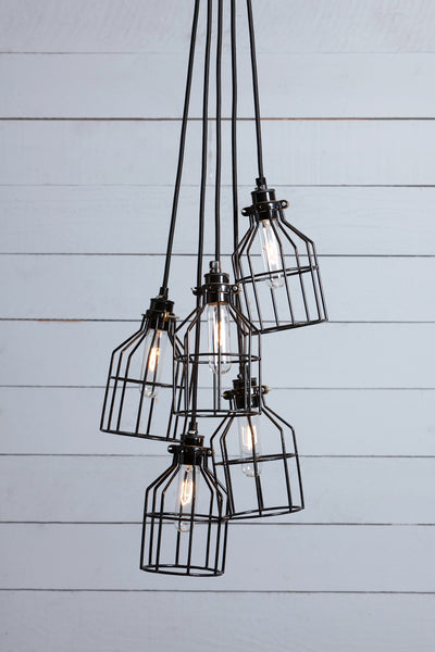 Industrial Chandelier - Black Wire Cage - 5 Light Cluster