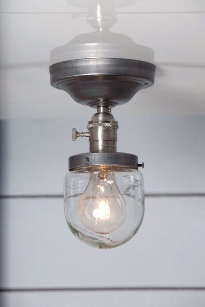 Glass Shade Beacon Light Semi Flush Mount Industrial Light Electric
