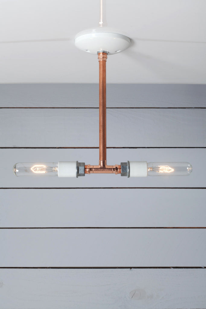 Pendant Copper Pipe Light - Double Bare Bulb Lamp - Industrial Light Electric - 1