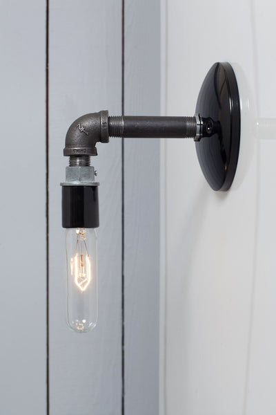 Black Pipe Wall Sconces : Industrial Black Pipe Wall Sconce Light - Bare Bulb Lamp Industrial Light Electric