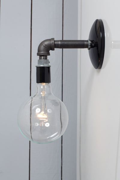 Industrial Black Pipe Wall Sconce Light Bare Bulb Lamp