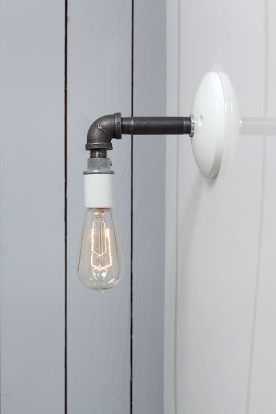 Industrial Black Pipe Wall Sconce Light Bare Bulb Lamp Industrial Light Electric