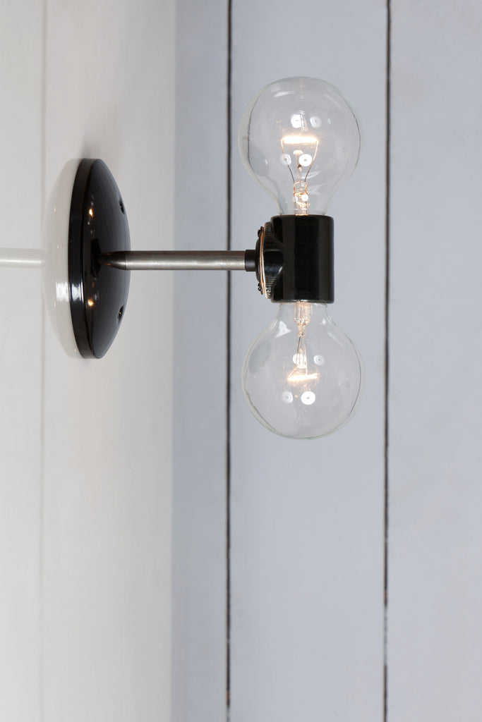 Double Steel Wall Sconce Light - Bare Bulb Lamp