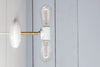 Brass and White Double Bare Bulb Wall Sconce Light