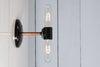 Double Copper Wall Sconce Light - Bare Bulb Lamp