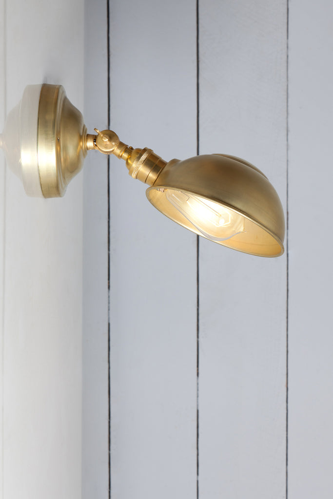 Brass Shade Wall Sconce - Angled Lamp