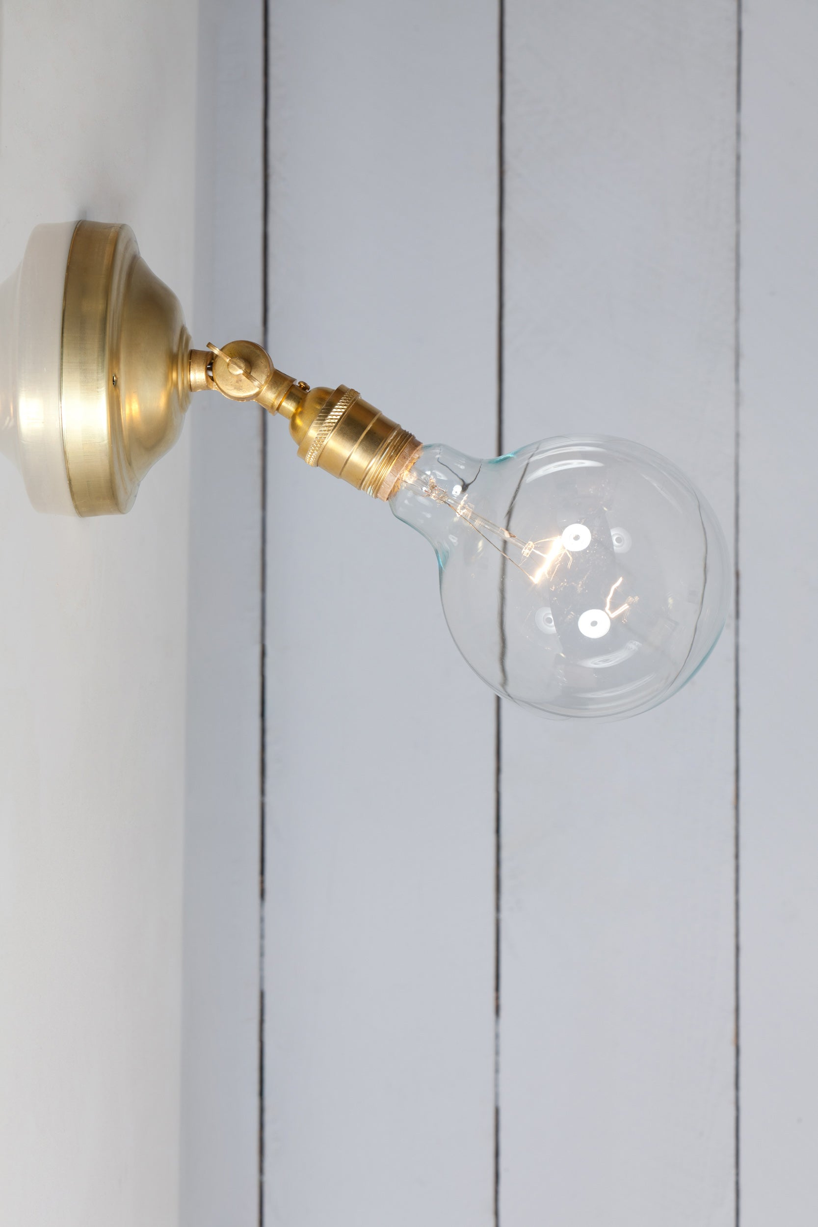 Picture of: Bare Bulb Brass Wall Sconce Angled Lamp Industrial Light Electric