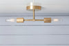 Brass Double Bare Bulb Semi Flush Mount Light