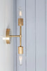 Mid Century Brass Wall Sconce - Double Bare Bulb Light