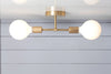 Mid Century Brass Semi Flush Mount Light - Double Bare Bulb
