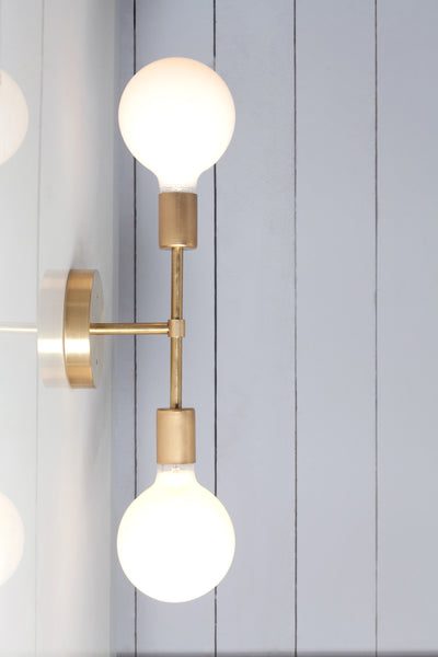 Double Brass Wall Sconce - Bare Bulb Light