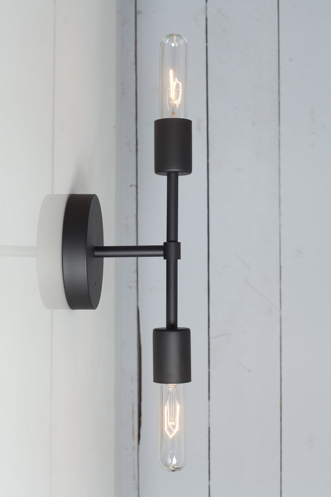 Double Matte Flat Black Wall Sconce Bare Bulb Light Industrial Light Electric