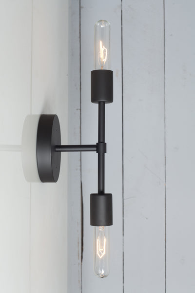 Double Matte Flat Black Wall Sconce - Bare Bulb Light