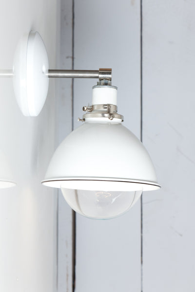 White Shade - Steel Wall Sconce