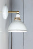 Brass Wall Sconce White Metal Shade Light