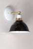 Farmhouse Black White and Brass Wall Sconce
