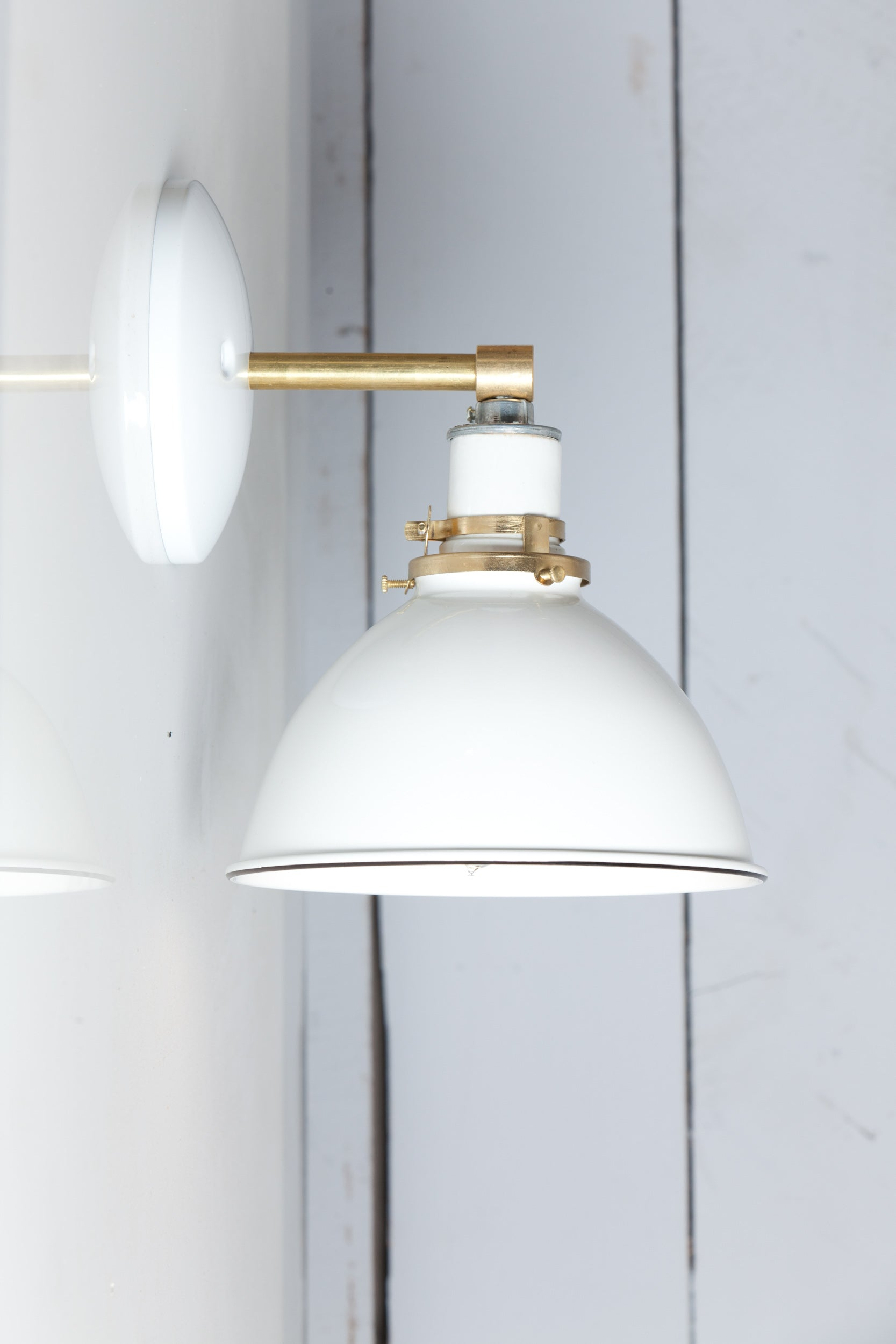 White Shade Brass Wall Sconce Light Industrial Light Electric