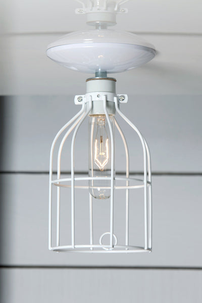 White Cage Light - Ceiling Mount - Industrial Lighting - Industrial Light Electric - 1