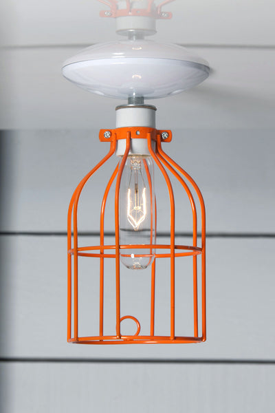 Industrial Lighting - Orange Cage Light - Ceiling Mount - Industrial Light Electric - 1