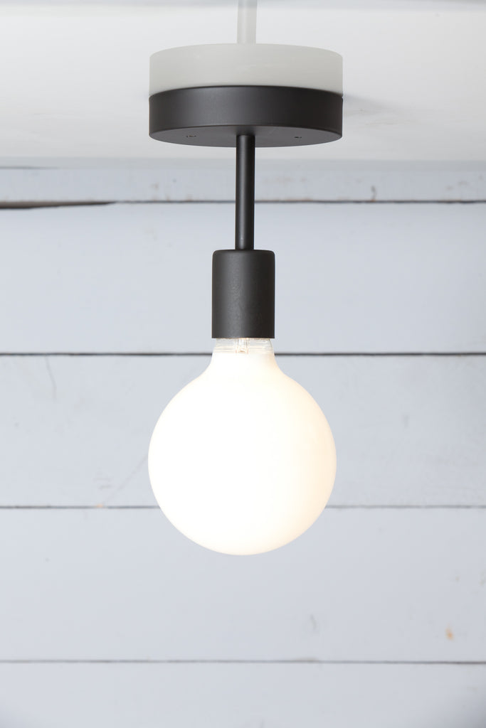 Matte Flat Black Semi Flush Mount Ceiling Light - Bare Bulb