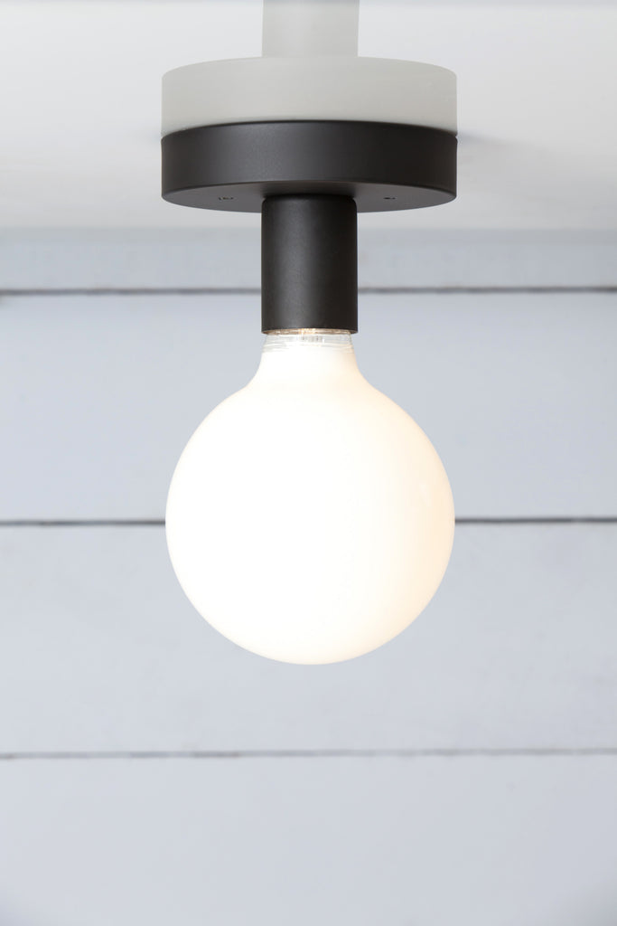 Matte Flat Black Ceiling Light - Bare Bulb
