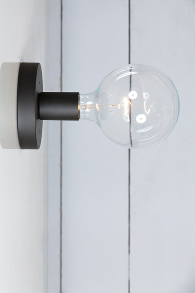 Matte Flat Black Wall Sconce - Bare Bulb Light