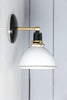 White Shade with Black Base and Brass Wall Sconce Light