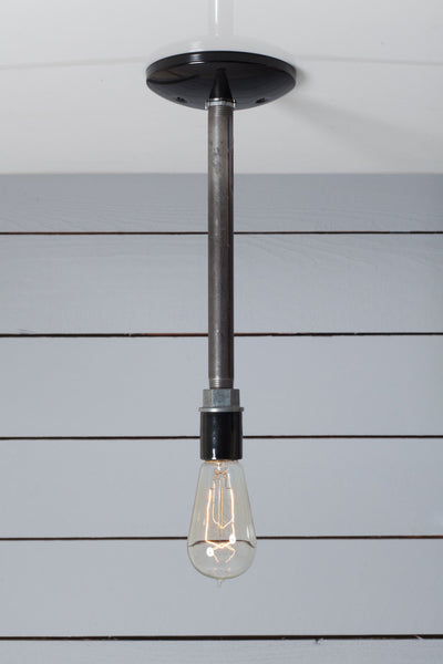 Black Pipe Pendant Light Bare Bulb Lamp Industrial