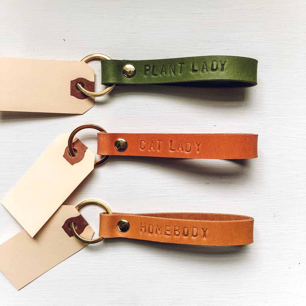 Custom Leather Stamped Keychain