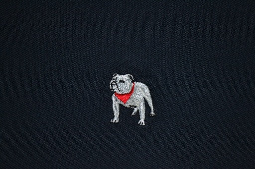 Navy blue polo with gray English Bulldog logo