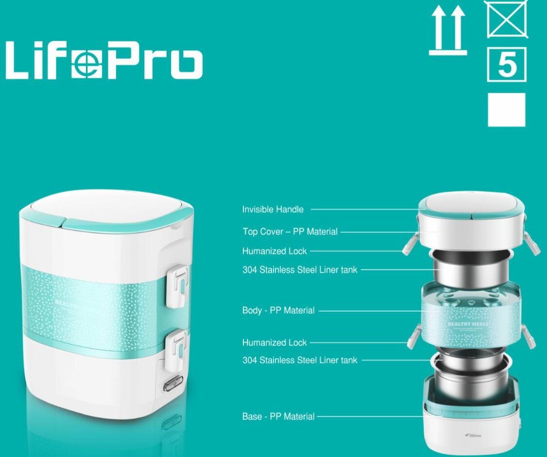LifePro DS11 2.0L Electric Lunch Box/ Double Layers with 3 Containers/ 18 Months SG Warranty