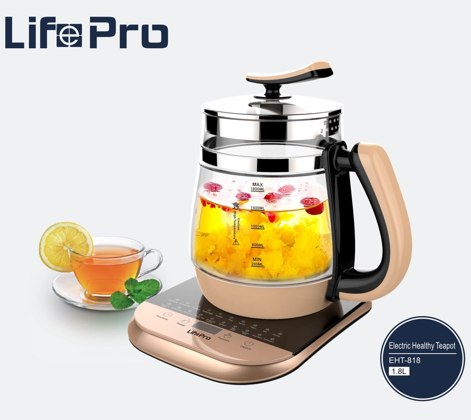 LifePro EHT-818 Golden 1.8L Electric Healthy Teapot/ 20 Preset Functions/18 Months SG Warranty