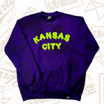 KANSAS CITY DRIP CREWNECK - PURPLE/BLACK TIE DYE