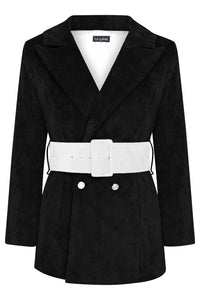 HYDRA BLAZER - BLACK WITH ECRU BELT