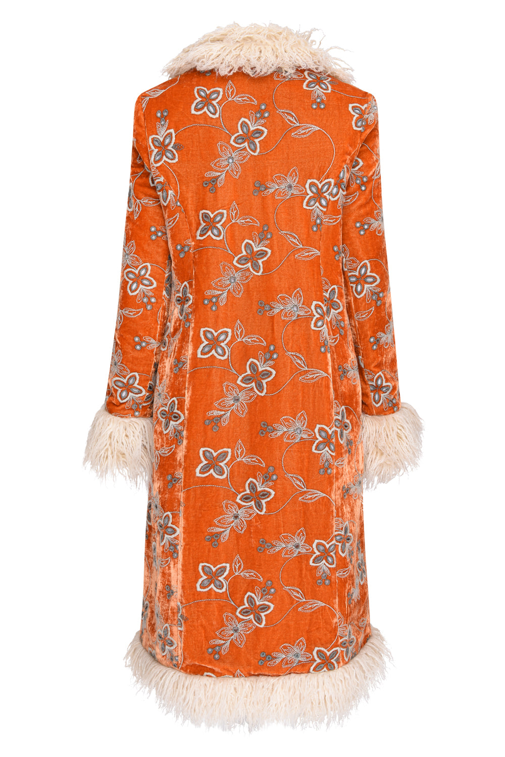 HIMALIA - ORANGE EMBROIDERED VELVET x BROWN CORD
